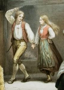 Utsnitt av Adolph Tidemands Søndag i en Røgstue.